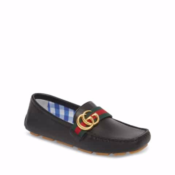 7134bee989 GUCCI Noel Driving Loafer Black Leather (Toddler)